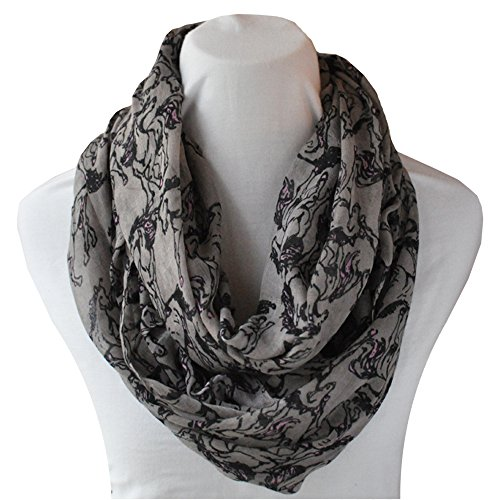 Infinity Scarf (Gray Horses with Pink)