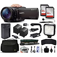 Sony HDR-CX900 Full HD Handycam Camcorder Video Camera + 128GB Memory + Charger with Car/Euro Adapter + Action Stabilizer + LED Night Light + Large Case + Monopod + Dust Cleaning Kit + More