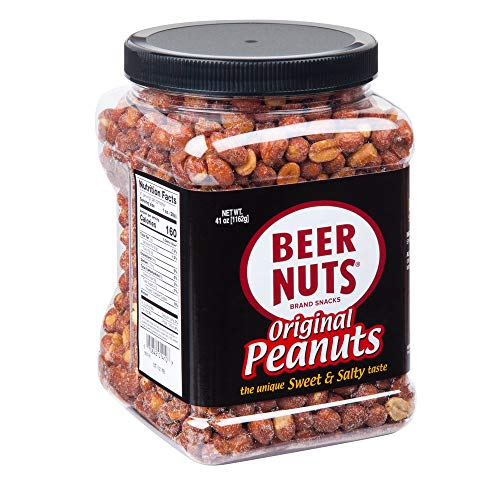 BEER NUTS Original Peanuts - 41 oz Resealable Jar Sweet and Salty Gluten Free Kosher Low Sodium Snacks