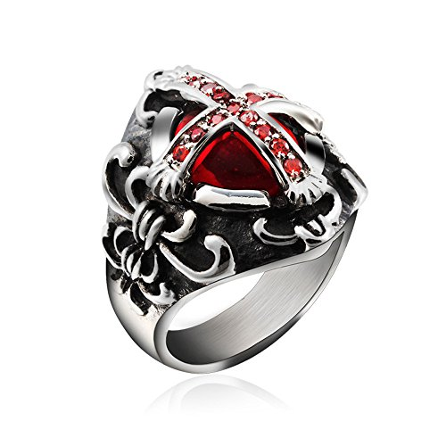 UM Jewelry Mens Stainless Steel Ring Red Crystal Gothic Vintage Celtic Cross Band Red Gothic Cross