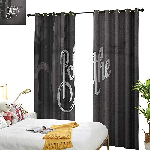 WinfreyDecor Insulated Sunshade Curtain Just Breathe Teenager in Sneakers Walking on a Street Youth Culture Urban Scene Darkening and Thermal Insulating W72 x L96 Charcoal Grey White -