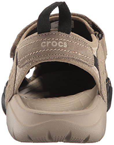 find great sale online choice cheap price Crocs Men's Swiftwater Suede Fisherman Sandal Khaki/Cobblestone discount best prices free shipping buy footaction xOhDcm0VEs