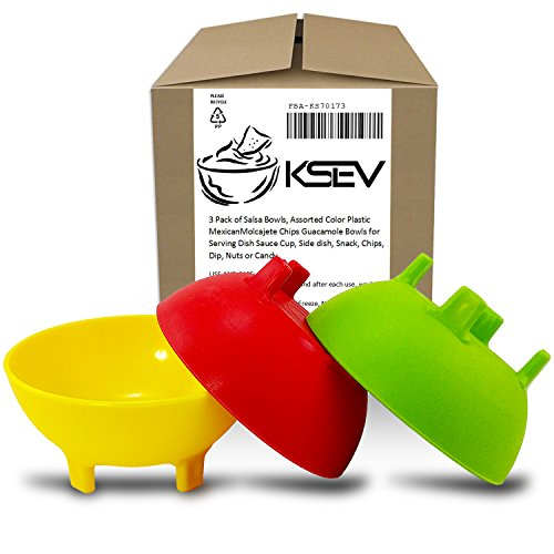 KSEV Salsa Bowls, Plastic Mexican Molcajete Chips Guacamole, Serving Dish, Sauce Cup, Side dish, Snack, Chips, Dip, Nuts or Candy. Great to use at any event. (Multi-Color - 3 Pack)
