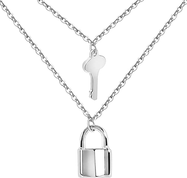 Ualgl Lock And Key Pendant Necklace Stainless Steel Adjustable Punk Multilayer Long Chain Choker Necklace Jewelry Set A Silver Tones Lock Key Amazon Ca Jewelry