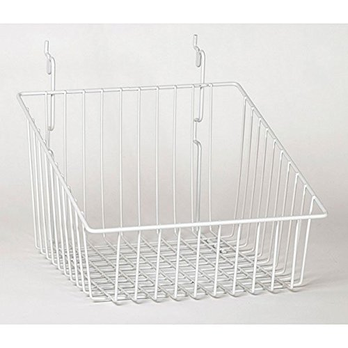 Pack of 5 New White Sloping Basket 12'w x 12'd x 8'h Back x 4'h Front KCF