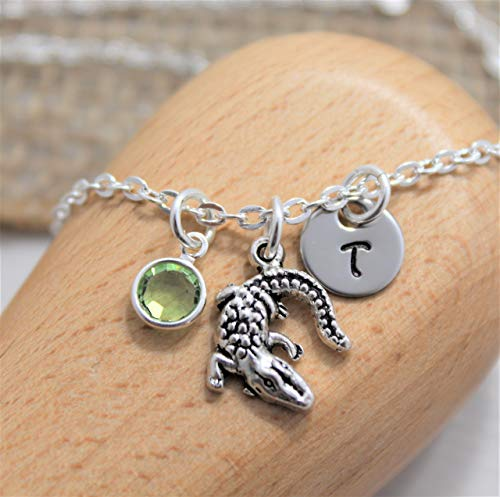 (Alligator Necklace for Women - Alligator Jewelry - Personalized Birthstone & Initial - Fast Shipping )