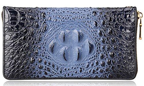 PIJUSHI Women Embossed Crocodile Leather Wallets 258-1513 (Black)