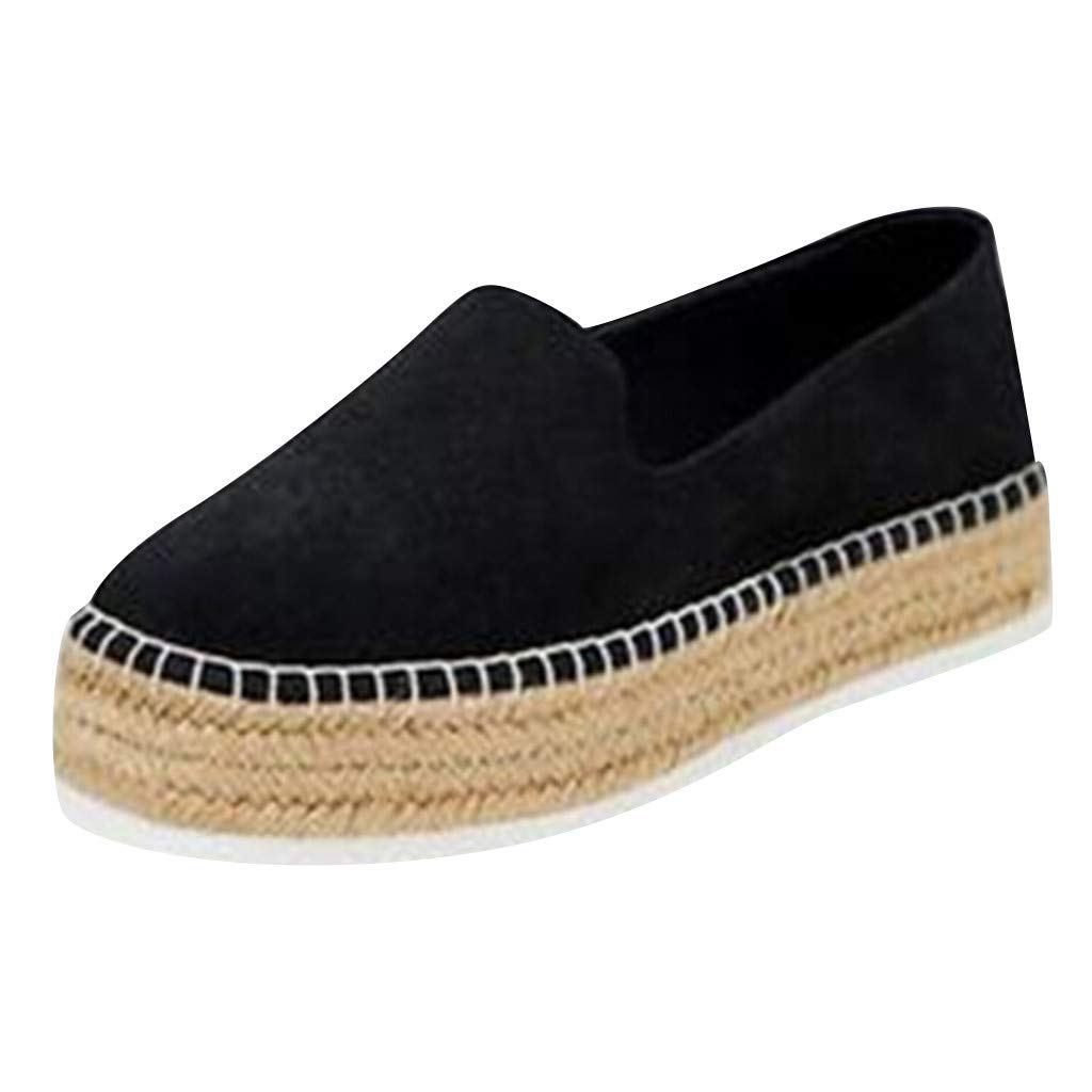 Shusuen Womens Casual Clip Espadrilles Trim Flatform Ankle Sandals Black by Shusuen_shoes