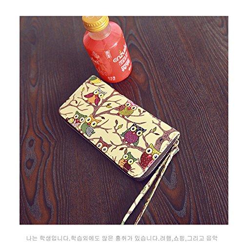 Alla Cerniera Trousse Portamonete Panno Donna In Pelle Outflower 10 Storage Tempo Lungo Yellow Borsetta Per Yellow Sezione Wild Gufo 20 Stampa 3cm Donne Il Bag Moda Libero Da wqY6qZ8