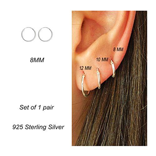 Cartilage Earring Hoop Set Sterling Silver Endless Earrings Ear Body Piercing Jewelry for Women Men Girls 8mm (8 Mm Endless Hoop Earrings)