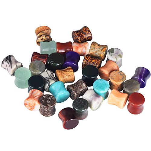 6mm Organic Body Jewelry Plugs - D&M Jewelry 32pcs 2G Amazonite Agate Onyx Jasper Stone Saddle Stretching Plugs