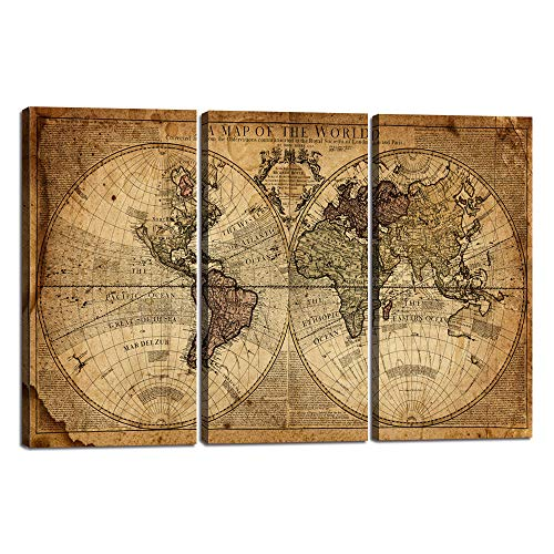 Framed Canvas Iii (Wall Art Decor Canvas World Map,3 Pieces Framed Large Canvas Art Contemporary Painting Vintage Globe Map Newspaper Background Artwork Pictures for Bedroom Living Room Decoration(40''H x 60''W))