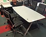 Modern Tempered Glass Conference Table 71'' by 35'' with white glass boat shaped