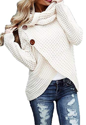HZSONNE Women's Chunky Turtle Cowl Neck Asymmetric Hem Wrap Sweater Coat with Button Details