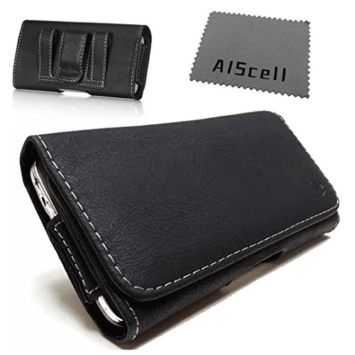 For ZTE Z667 / Zinger / Prelude 2 ~ Deluxe Black Texture Leather Case Carry Pouch Belt Clip , Belt Loop Holster + AIScell phone Microfiber Cleaning Cloth (By All_Instore) ()