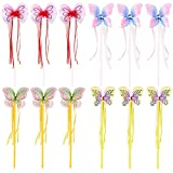 Blue Panda 12 Pack Princess Wands - Fairy Butterfly Magic Wands Dress up & Pretend Play, Multicolor