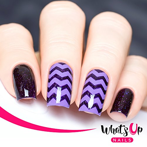 Whats Up Nails - Zig Zag Tape Nail Stencils Stickers Vinyls for (Airbrush Design Nail Art Stencils)