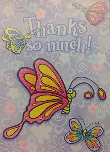 (8) Colorful Mod Butterflies Thanks So Much Note Cards with White Envelopes - 4 x 5.5 Inches