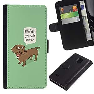 """Be-Star la tarjeta de Cr¨¦dito Slots PU Funda de cuero Monedero caso cubierta de piel Para Samsung Galaxy Note 4 IV ( Wiener Perro Cita divertida del perro del Dachshund Arte"""" )"""