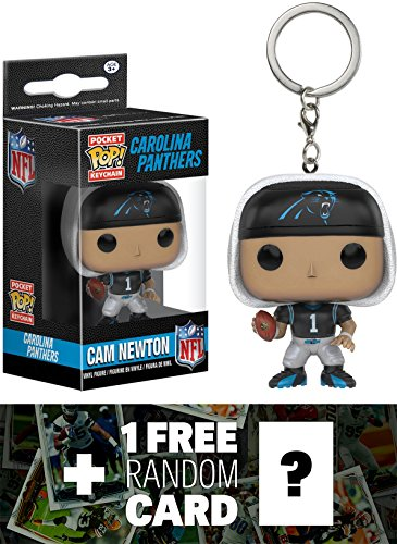 Cam Newton - Panthers: Pocket POP! x NFL Mini-Figure Keychain + 1 FREE Official NFL Trading Card Bundle (102391)