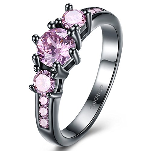 pink and black diamond ring - 4