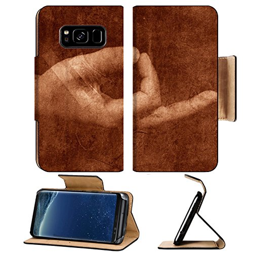 Luxlady Premium Samsung Galaxy S8 Plus S8+ Flip Pu Leather Wallet Case IMAGE ID 310003 Ancient meditation Hand forming a popular meditation mudra Photo based mixed medium image Extreme texture and gra