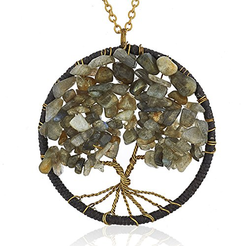 Gold-Plated Brass Copper Trunk Eternal Tree of Life Labradorite Gemstone Pendant Necklace, 30 (Iridescent Copper Night Lights)