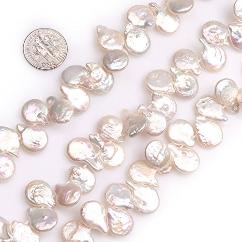 GEM-Inside White Pearls Gemstone Loose Top Drilled Coin Beads Natural 15x12mm Energy Stone Power for Jewelry Making 15''