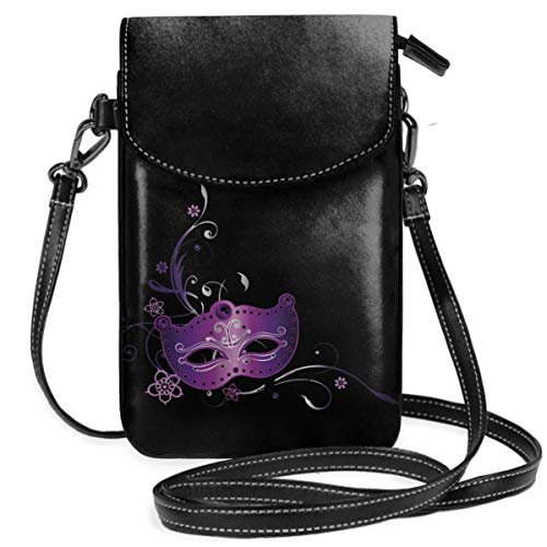 Small Cell Phone Purse For Women Leather Carnival Masks Insides Card Slots Crossbody Bags Wallet Shoulder Bag -