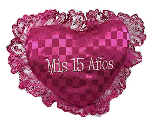 My Sweet Fifteen 15 Mis Quince Anos Fuchsia Heart Shaped Tiara or Shoe Pillow ()