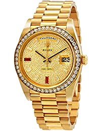 Day-Date 40 Automatic Gold Diamond Pave Dial Mens 18kt Yellow Gold President Watch 228348rbr-0030