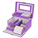 SONGMICS Girls Jewelry Box Lockable Jewelry Organizer Mirrored Storage Case Purple UJBC114P