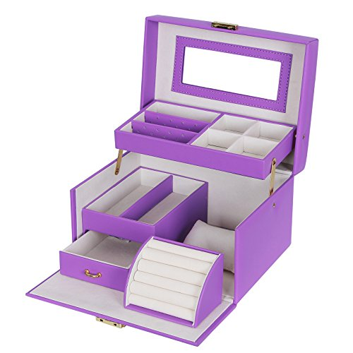 SONGMICS Girls Jewelry Box Lockable Jewelry Organizer Mirrored Storage Case Purple UJBC114P