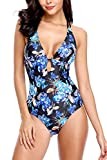 Sociala Women Deep Plunge One Piece Swimsuit Lace-up Back Monokini Bathing Suit