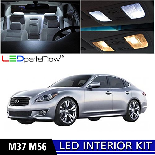 LEDpartsNow 2011-2017 Infiniti M37 M56 LED Interior Lights Accessories Replacement Package Kit (10 Pieces), WHITE