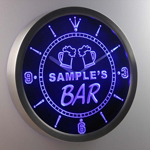 ncpv-tm Beer Mug Bar Personalized Your Name Pub Sign Neon LED Wall Clock