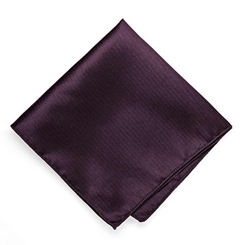 TieMart Eggplant Purple Herringbone Silk Pocket Square (Silk Pocket Square Herringbone)