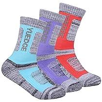 YUEDGE Womens Wicking Cushion Crew Cotton Socks Performance Hiking Running Socks