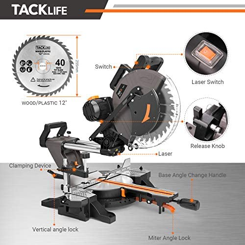 TACKLIFE Sliding Compound Miter Saw 12-Inch, 1700W, 3800rpm, Double-Bevel Cut -45 -0 -45 with Laser Guide, Extensible Table, Dust Bag, 40T 305mm Blade for Wood Cut – PMS03A