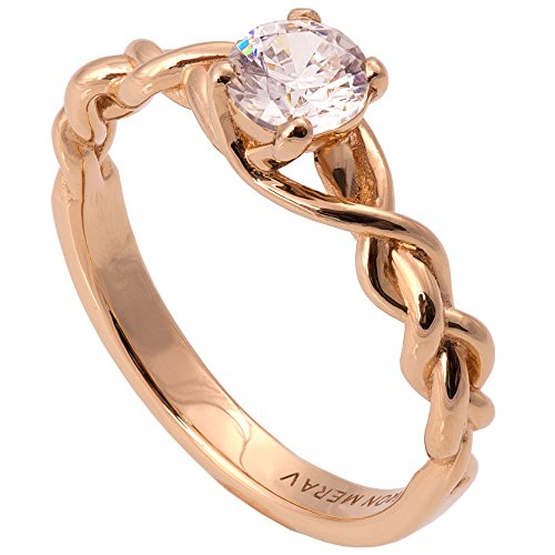 Solid 18K Rose Gold and Diamonds Braided Solitaire Engagement Ring For Women Unique Sets Promise Band Celtic Woven by Doron Merav