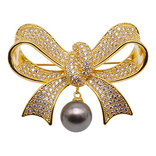 Pearl Brooch Pendant (JYX Luxurious Pearl Brooch 11.5mm Peacock-green Tahitian Pearl Brooch Pin Pendant)