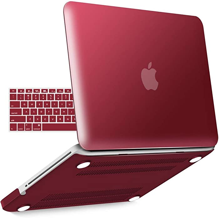 IBENZER MacBook Pro 13 Inch case A1278 Release 2012-2008, Plastic Hard Shell Case with Keyboard Cover for Apple Old Version Mac Pro 13 with CD-ROM, Wine Red, P13WR+1