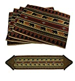 Zeckos Polyester Place Mats 5 Piece Forest Bears Rustic Lodge Fabric Placemat & Fringed Table Runner Set 72 X 0.2 X 15 Inches Brown