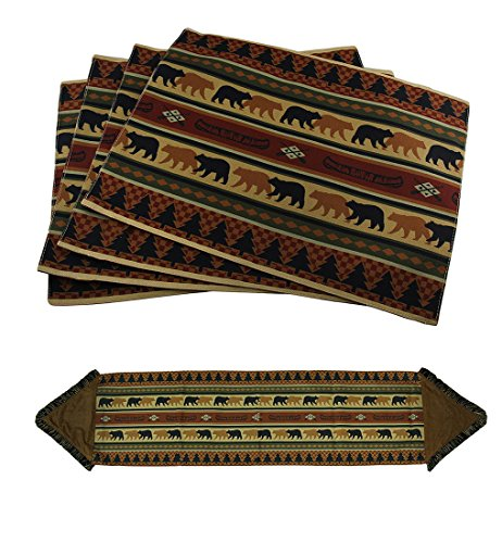 Zeckos 5 Piece Forest Bears Rustic Lodge Fabric Placemat & Fringed Table Runner Set