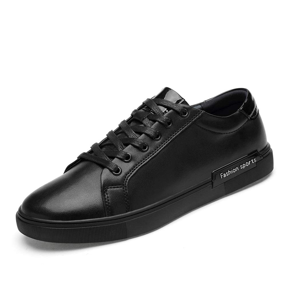 Hilotu Mens Casual Flat Shoes, Athletic Lace up Genuine Leather Leisure Outdoor Walking (Color : Black, Size : 9 D(M) US)