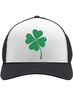 79b75a17d7636 St. Patrick s Day Shamrock Irish Green Four-Leaf Clover Trucker Hat Mesh Cap