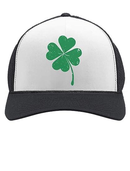 61f8e78d589 St. Patrick s Day Shamrock Irish Green Four-Leaf Clover Trucker Hat Mesh Cap  One Size Black White at Amazon Men s Clothing store