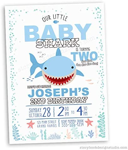 Pack of 10 Shark Party Invitations
