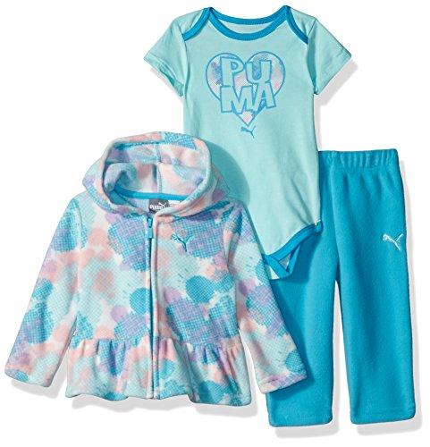 Girls 3 Piece Sweater (PUMA Baby Girls Three Piece Micro Fleece Set, Blue Atoll, 18M)