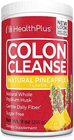 Health Plus Colon Cleanse – Natural Daily Fiber – No Artifical Flavors, Natural Sweetener, Gluten Free, Detox, Heart Healthy, Pineapple Flavor 9 Ounces, 36 Servings
